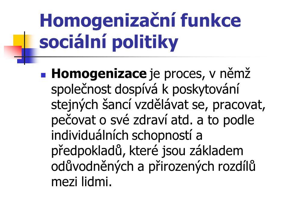Homogenizační funkce sociální politiky Homogenizace je proces, v němž společnost dospívá k poskytování stejných šancí vzdělávat se, pracovat, pečovat