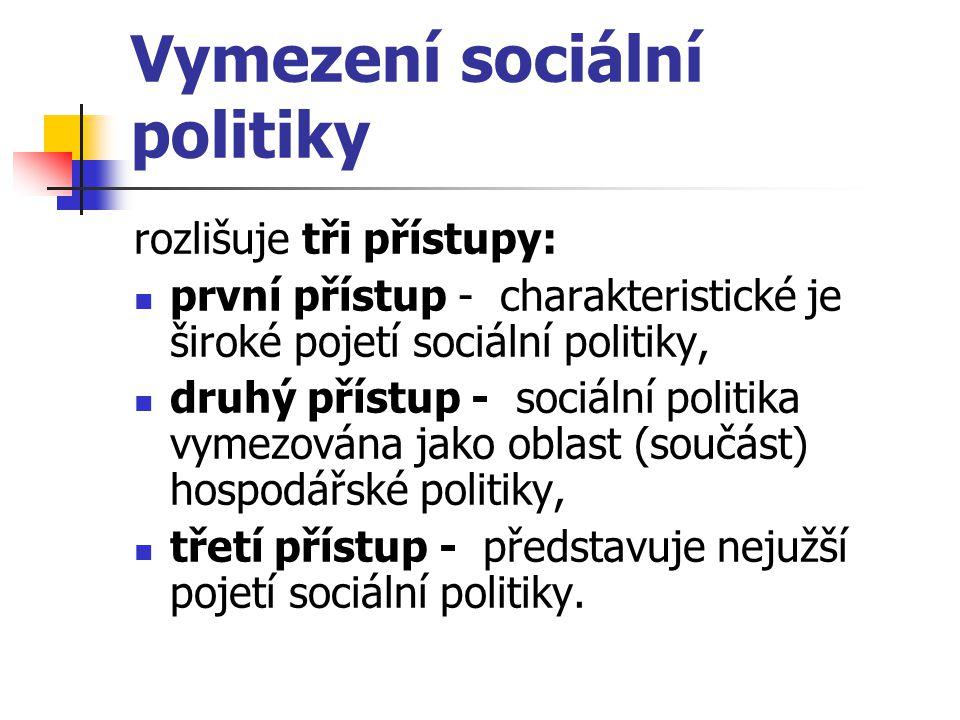Vymezení sociální politiky rozlišuje tři přístupy: první přístup - charakteristické je široké pojetí sociální politiky, druhý přístup - sociální polit