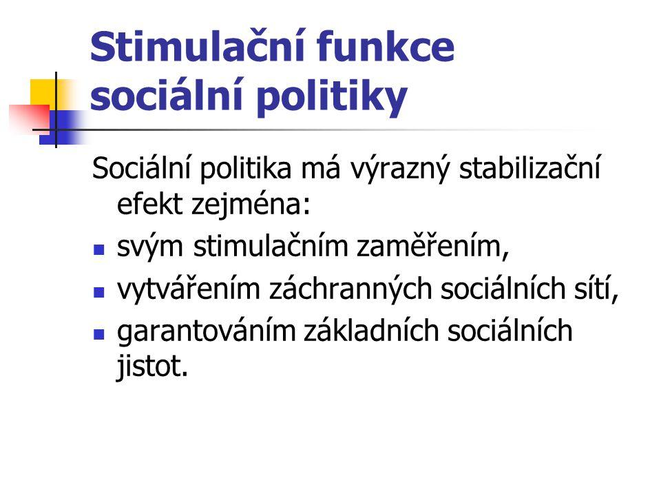 Stimulační funkce sociální politiky Sociální politika má výrazný stabilizační efekt zejména: svým stimulačním zaměřením, vytvářením záchranných sociál