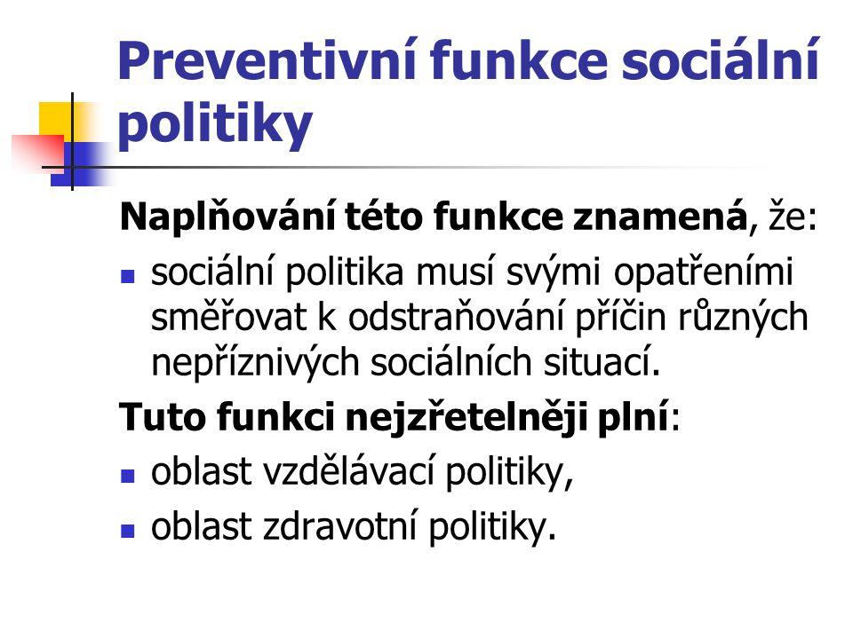 Preventivní funkce sociální politiky Naplňování této funkce znamená, že: sociální politika musí svými opatřeními směřovat k odstraňování příčin různýc