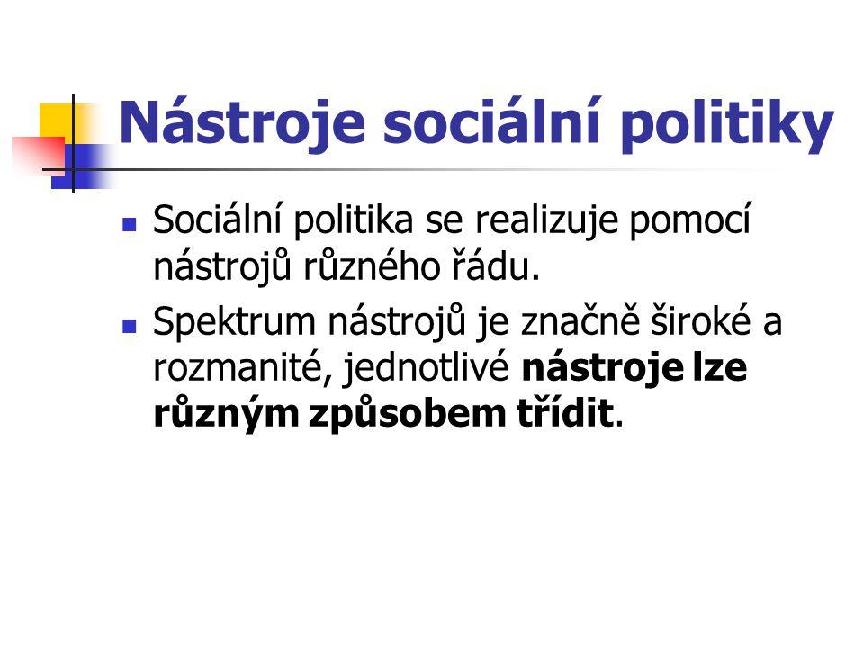 Nástroje sociální politiky Sociální politika se realizuje pomocí nástrojů různého řádu. Spektrum nástrojů je značně široké a rozmanité, jednotlivé nás