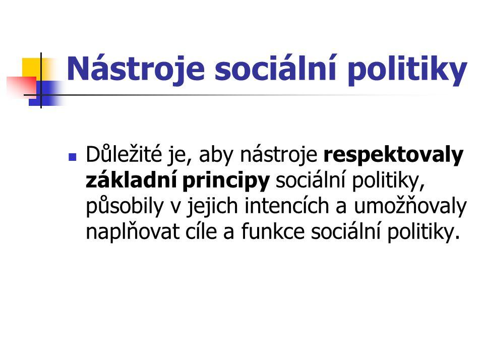 Nástroje sociální politiky Důležité je, aby nástroje respektovaly základní principy sociální politiky, působily v jejich intencích a umožňovaly naplňo