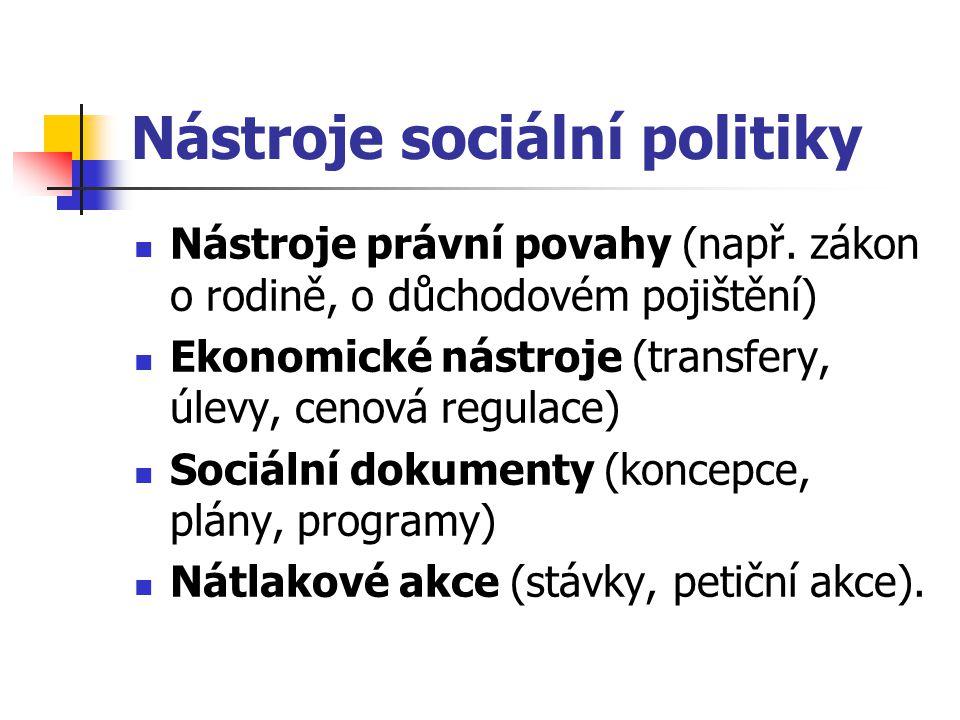 Nástroje sociální politiky Nástroje právní povahy (např. zákon o rodině, o důchodovém pojištění) Ekonomické nástroje (transfery, úlevy, cenová regulac