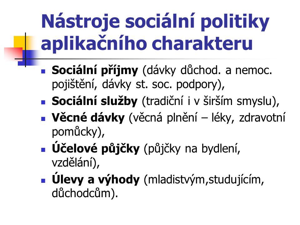 Nástroje sociální politiky aplikačního charakteru Sociální příjmy (dávky důchod. a nemoc. pojištění, dávky st. soc. podpory), Sociální služby (tradičn