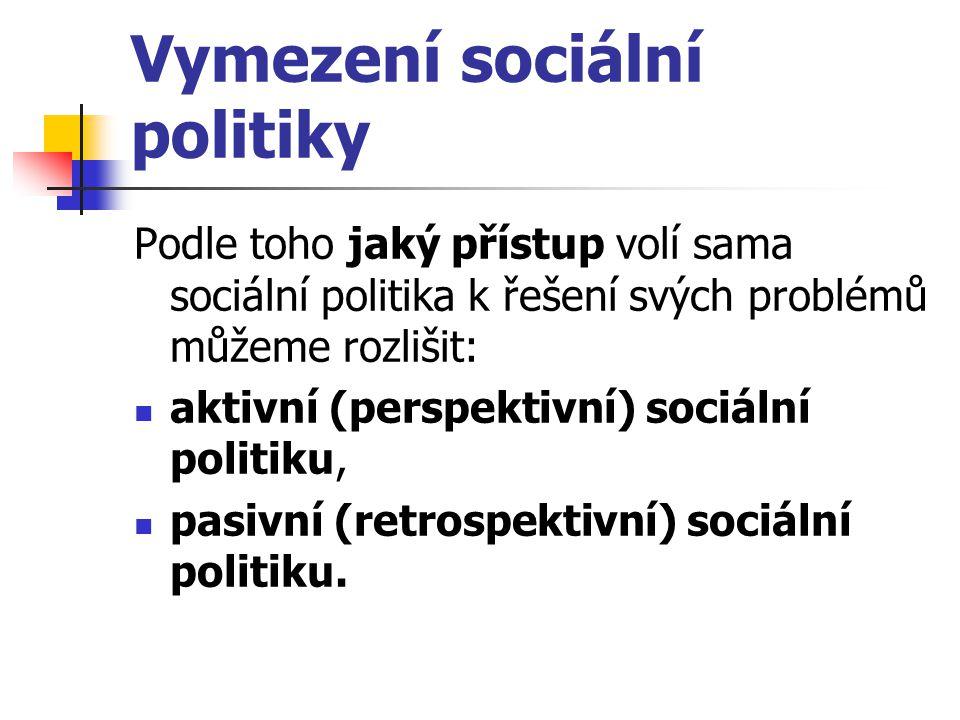 Vymezení sociální politiky Podle toho jaký přístup volí sama sociální politika k řešení svých problémů můžeme rozlišit: aktivní (perspektivní) sociáln