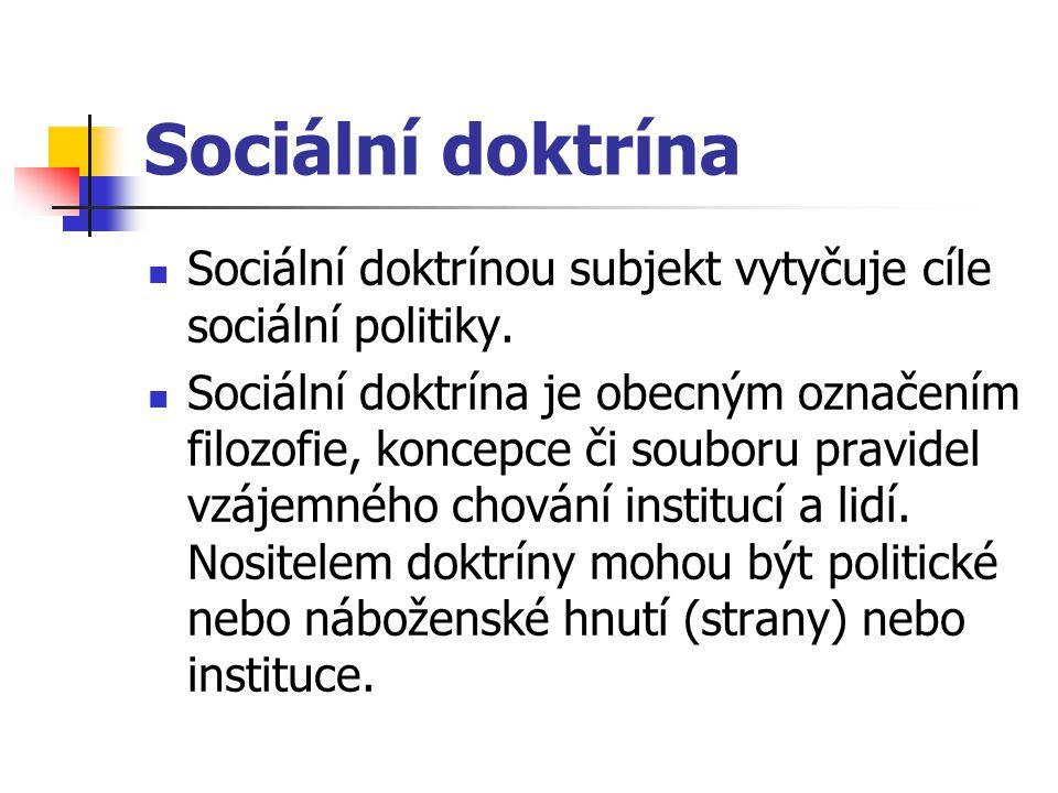 Sociální doktrína Sociální doktrínou subjekt vytyčuje cíle sociální politiky. Sociální doktrína je obecným označením filozofie, koncepce či souboru pr