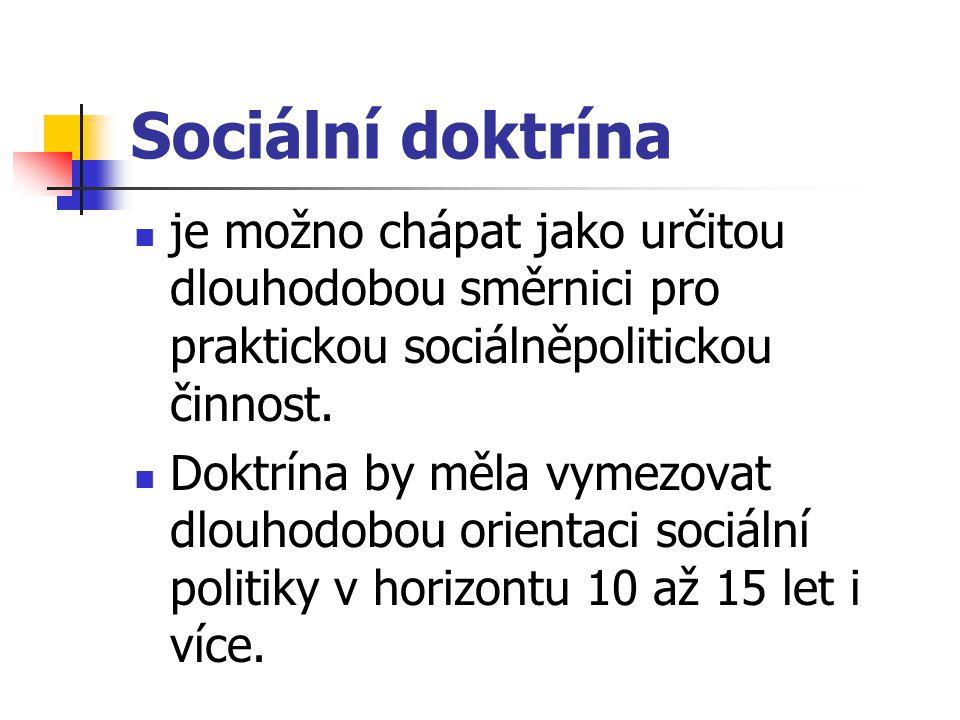 Sociální doktrína je možno chápat jako určitou dlouhodobou směrnici pro praktickou sociálněpolitickou činnost. Doktrína by měla vymezovat dlouhodobou