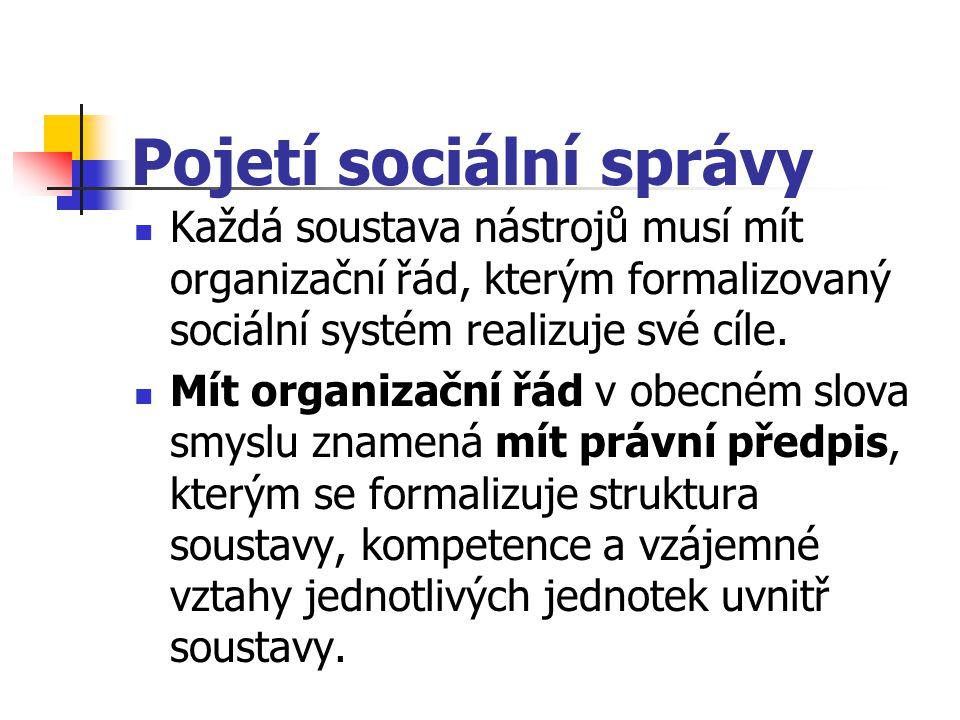 Pojetí sociální správy Každá soustava nástrojů musí mít organizační řád, kterým formalizovaný sociální systém realizuje své cíle. Mít organizační řád