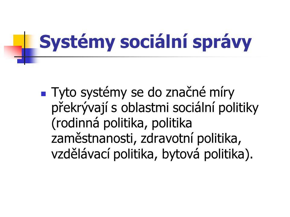 Systémy sociální správy Tyto systémy se do značné míry překrývají s oblastmi sociální politiky (rodinná politika, politika zaměstnanosti, zdravotní po