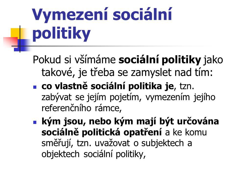 Vymezení sociální politiky Pokud si všímáme sociální politiky jako takové, je třeba se zamyslet nad tím: co vlastně sociální politika je, tzn. zabývat
