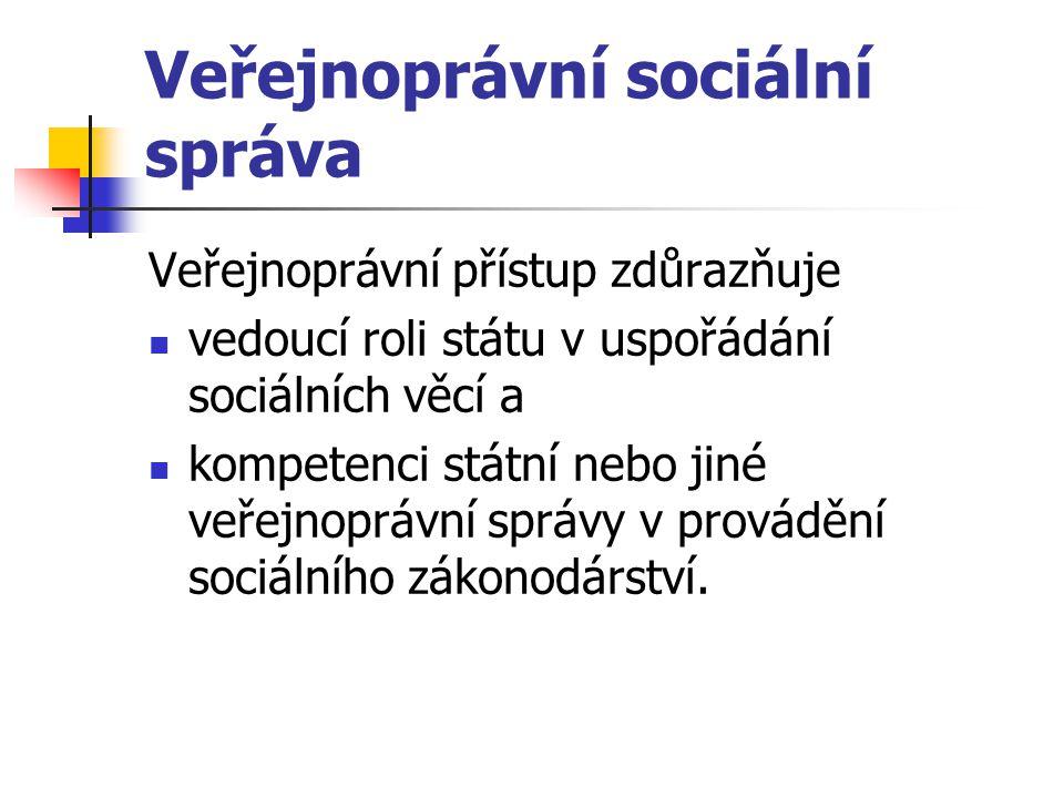 Veřejnoprávní sociální správa Veřejnoprávní přístup zdůrazňuje vedoucí roli státu v uspořádání sociálních věcí a kompetenci státní nebo jiné veřejnopr