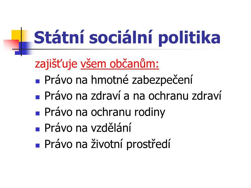 Státní sociální politika zajišťuje všem občanům: Právo na hmotné zabezpečení Právo na zdraví a na ochranu zdraví Právo na ochranu rodiny Právo na vzdě