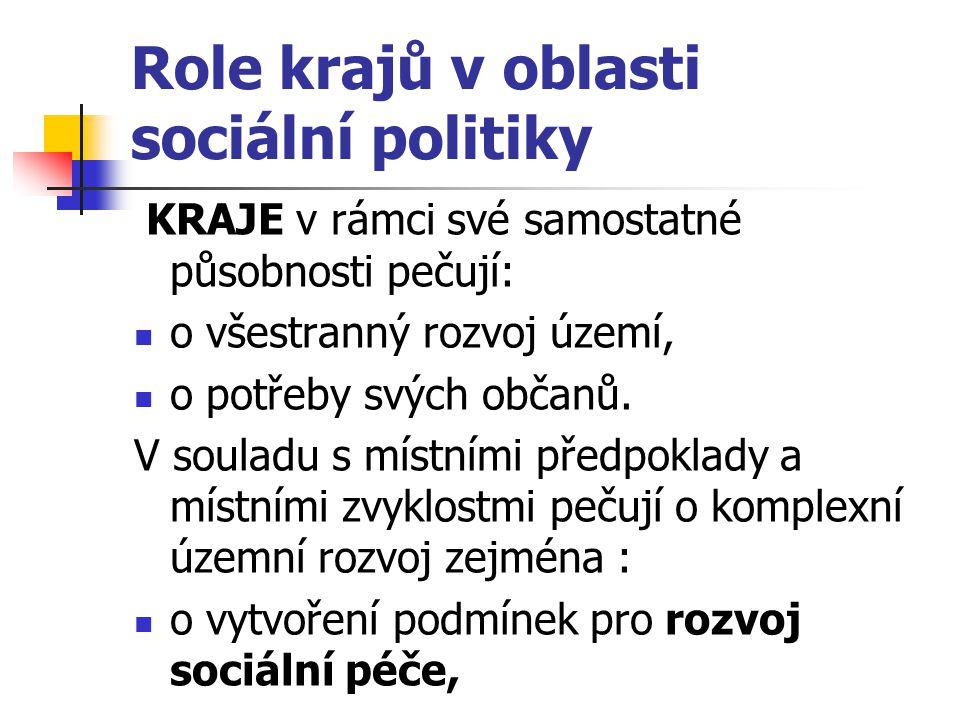 Role krajů v oblasti sociální politiky KRAJE v rámci své samostatné působnosti pečují: o všestranný rozvoj území, o potřeby svých občanů. V souladu s