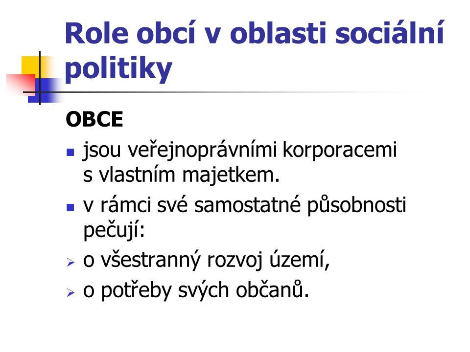 Role obcí v oblasti sociální politiky OBCE jsou veřejnoprávními korporacemi s vlastním majetkem. v rámci své samostatné působnosti pečují:  o všestra