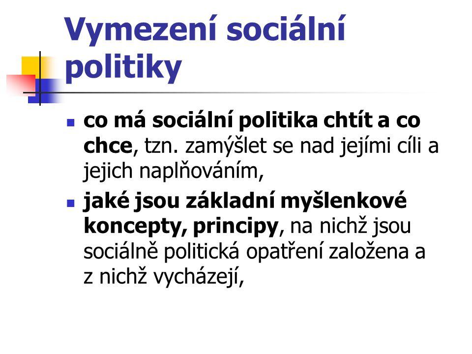 Vymezení sociální politiky co má sociální politika chtít a co chce, tzn. zamýšlet se nad jejími cíli a jejich naplňováním, jaké jsou základní myšlenko