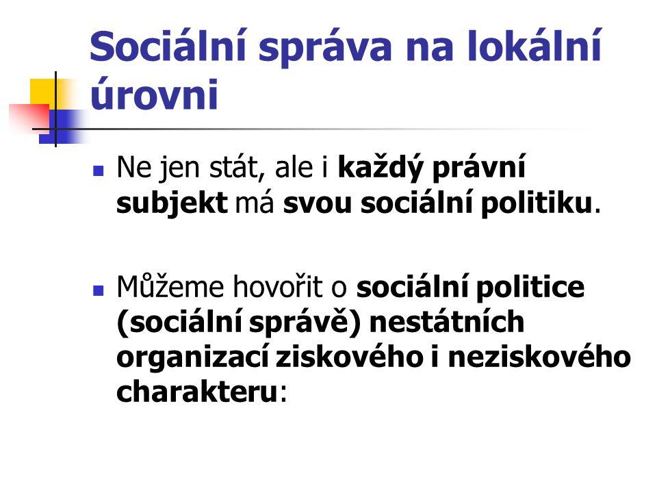 Sociální správa na lokální úrovni Ne jen stát, ale i každý právní subjekt má svou sociální politiku. Můžeme hovořit o sociální politice (sociální sprá