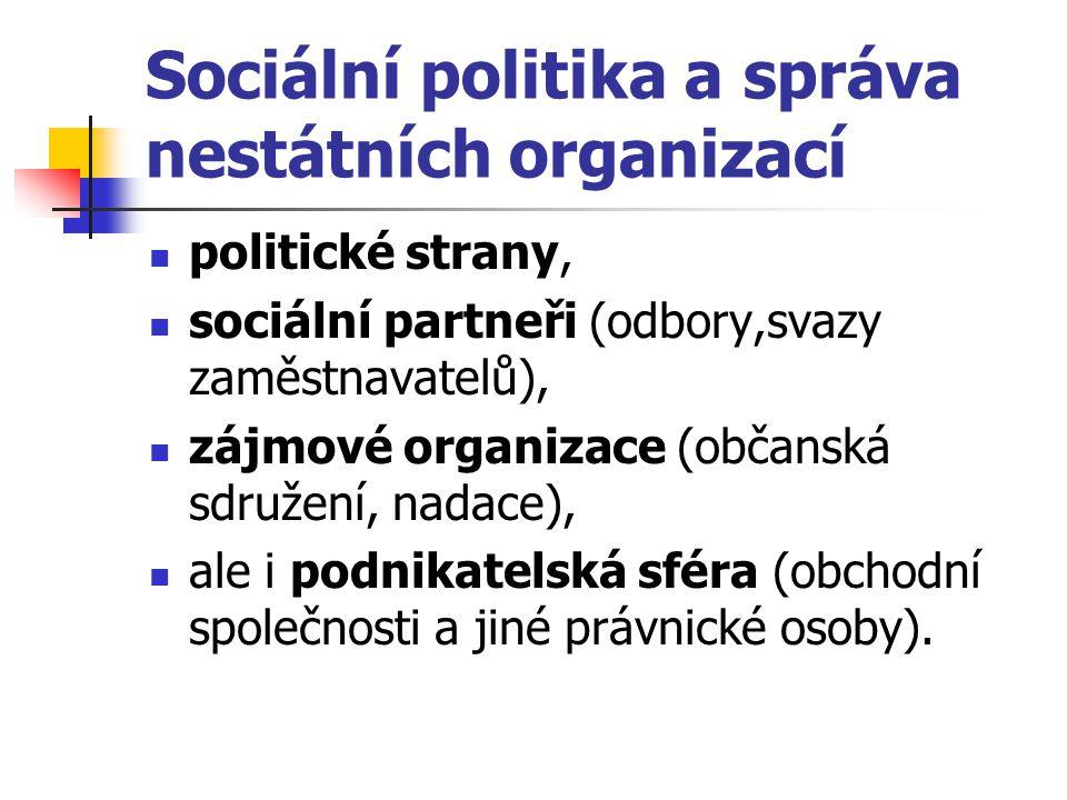 Sociální politika a správa nestátních organizací politické strany, sociální partneři (odbory,svazy zaměstnavatelů), zájmové organizace (občanská sdruž
