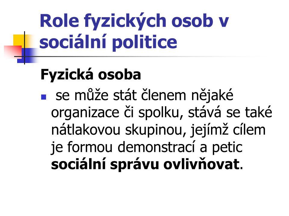 Role fyzických osob v sociální politice Fyzická osoba se může stát členem nějaké organizace či spolku, stává se také nátlakovou skupinou, jejímž cílem