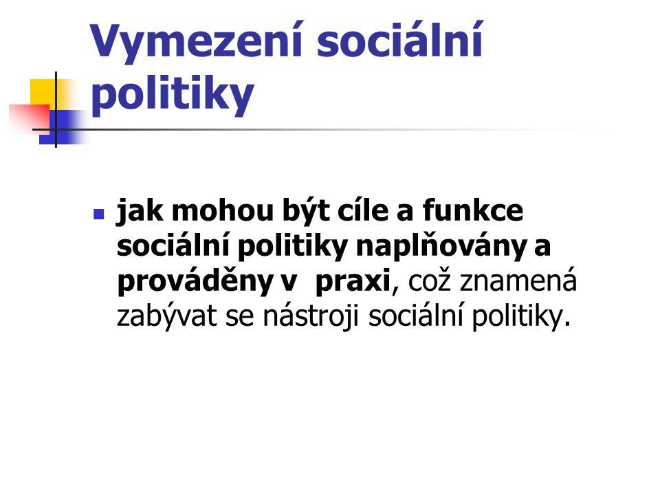 Vymezení sociální politiky jak mohou být cíle a funkce sociální politiky naplňovány a prováděny v praxi, což znamená zabývat se nástroji sociální poli