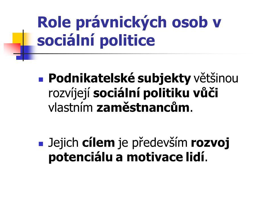 Role právnických osob v sociální politice Podnikatelské subjekty většinou rozvíjejí sociální politiku vůči vlastním zaměstnancům. Jejich cílem je před