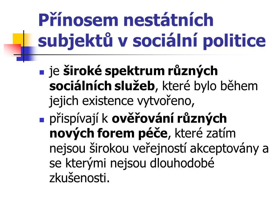 Přínosem nestátních subjektů v sociální politice je široké spektrum různých sociálních služeb, které bylo během jejich existence vytvořeno, přispívají