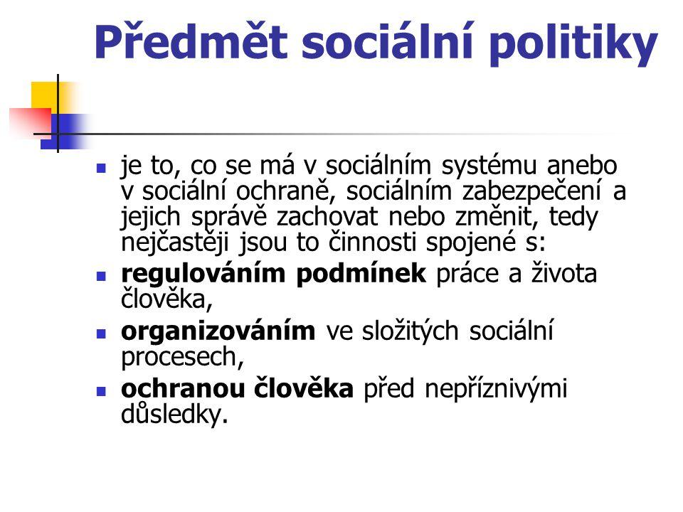 Předmět sociální politiky je to, co se má v sociálním systému anebo v sociální ochraně, sociálním zabezpečení a jejich správě zachovat nebo změnit, te