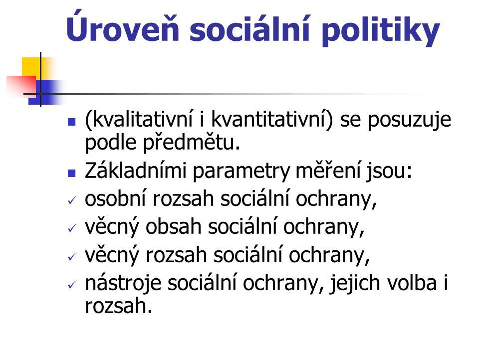 Úroveň sociální politiky (kvalitativní i kvantitativní) se posuzuje podle předmětu. Základními parametry měření jsou: osobní rozsah sociální ochrany,