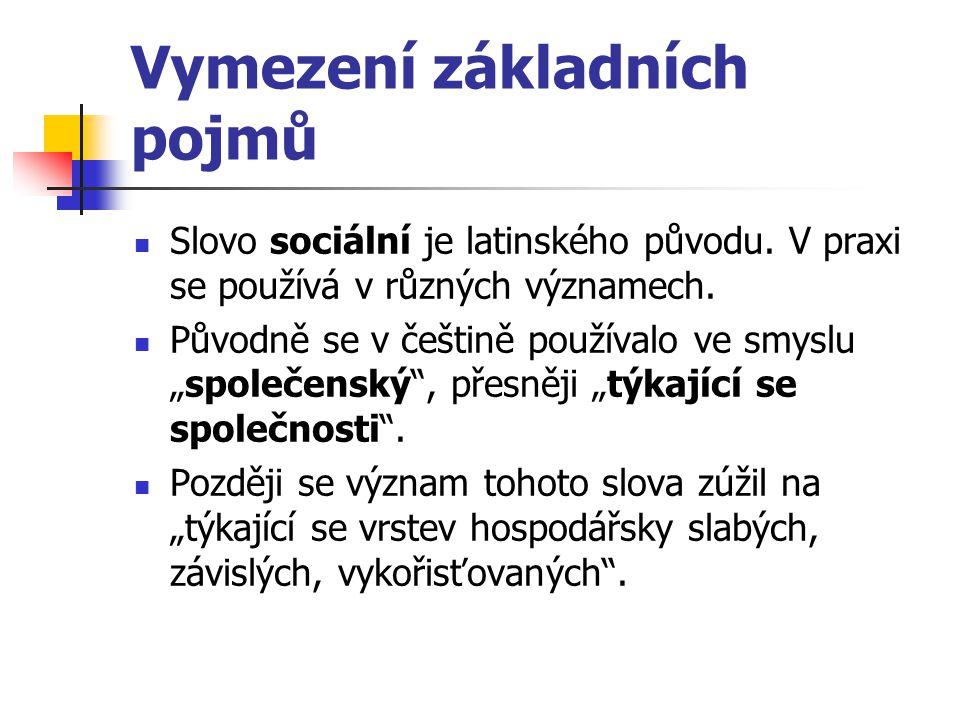 Význam slova sociální Podle Slovníku jazyka českého se po druhé světové válce užívalo slova sociální v trojím významu: vztahující se ke společnosti, týkající se zlepšování společenských poměrů, týkající se hmotného zabezpečení jedince ve společnosti.