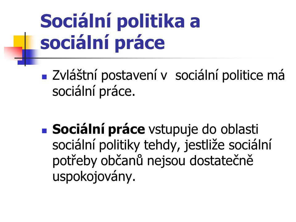 Sociální politika a sociální práce Zvláštní postavení v sociální politice má sociální práce. Sociální práce vstupuje do oblasti sociální politiky tehd