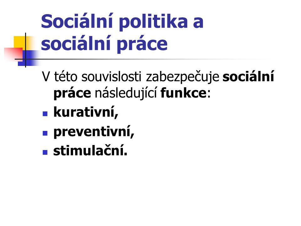 Sociální politika a sociální práce V této souvislosti zabezpečuje sociální práce následující funkce: kurativní, preventivní, stimulační.