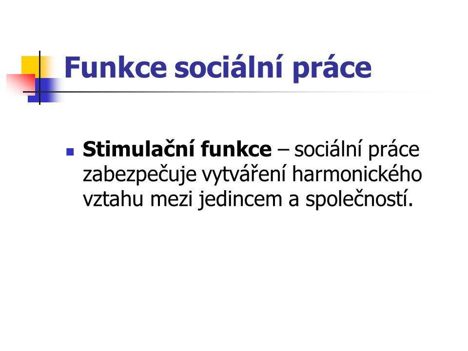Funkce sociální práce Stimulační funkce – sociální práce zabezpečuje vytváření harmonického vztahu mezi jedincem a společností.