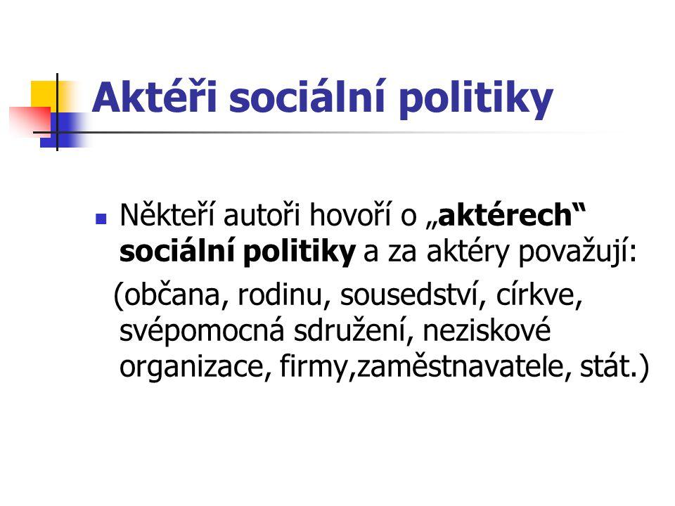 """Aktéři sociální politiky Někteří autoři hovoří o """"aktérech"""" sociální politiky a za aktéry považují: (občana, rodinu, sousedství, církve, svépomocná sd"""