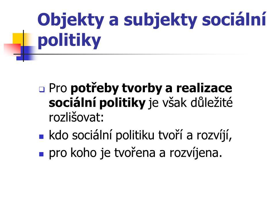 Objekty a subjekty sociální politiky  Pro potřeby tvorby a realizace sociální politiky je však důležité rozlišovat: kdo sociální politiku tvoří a roz