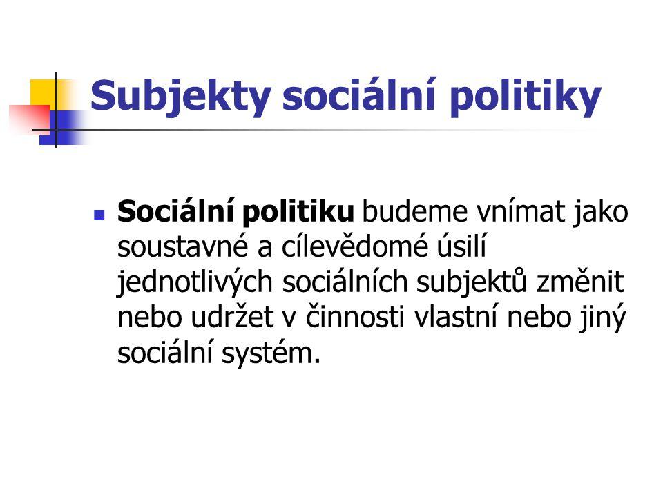 Subjekty sociální politiky Sociální politiku budeme vnímat jako soustavné a cílevědomé úsilí jednotlivých sociálních subjektů změnit nebo udržet v čin