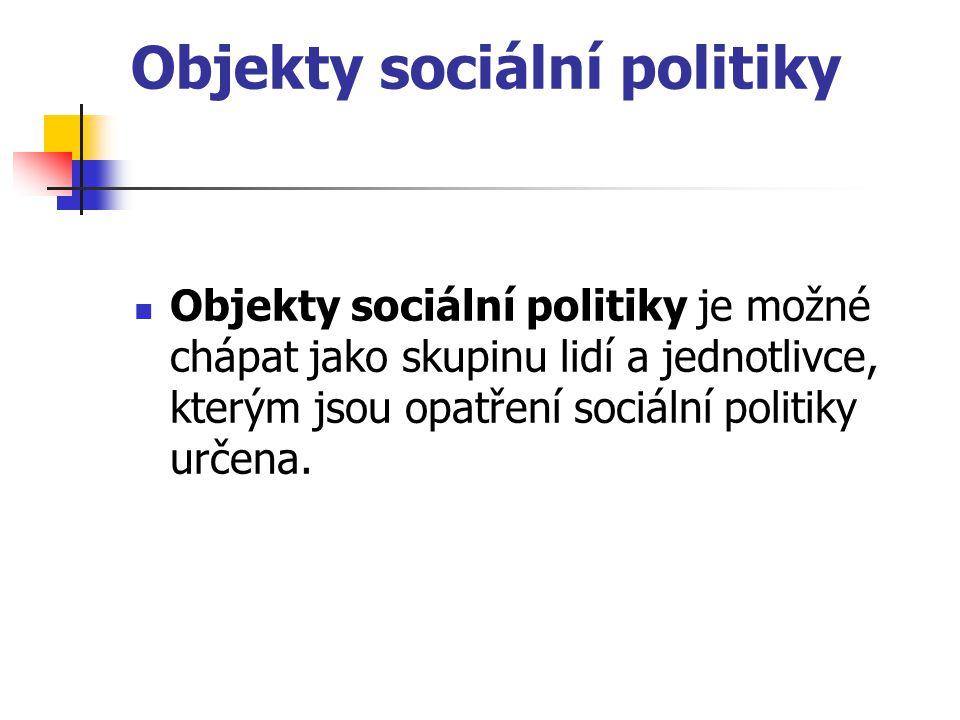 Objekty sociální politiky Objekty sociální politiky je možné chápat jako skupinu lidí a jednotlivce, kterým jsou opatření sociální politiky určena.