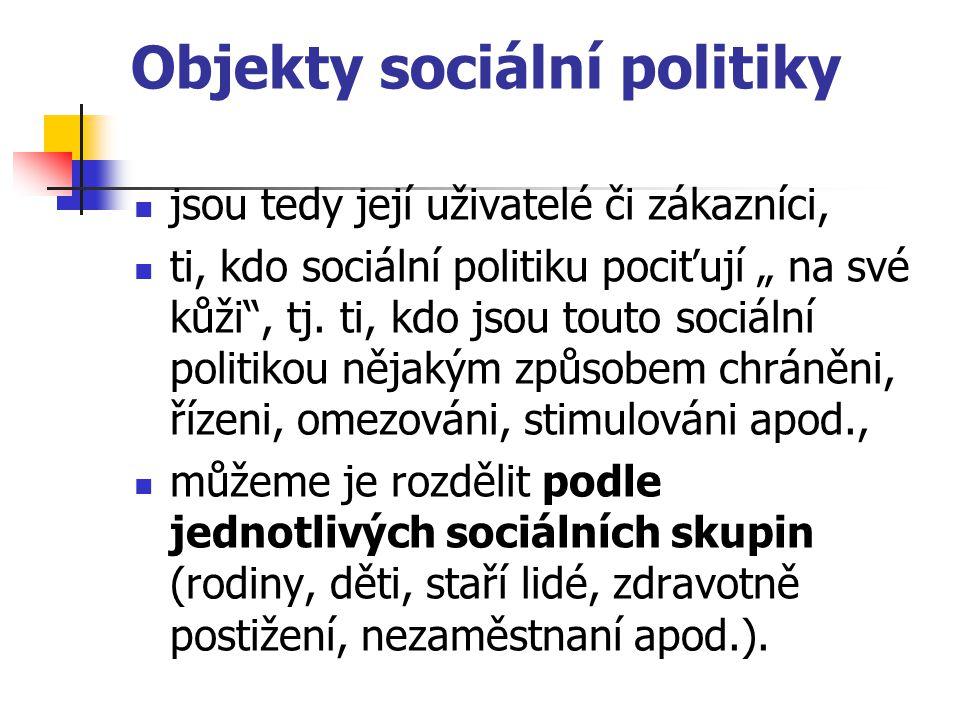 """Objekty sociální politiky jsou tedy její uživatelé či zákazníci, ti, kdo sociální politiku pociťují """" na své kůži"""", tj. ti, kdo jsou touto sociální po"""