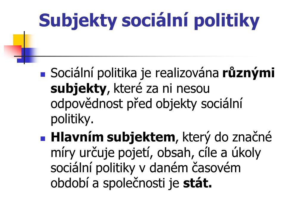 Subjekty sociální politiky Sociální politika je realizována různými subjekty, které za ni nesou odpovědnost před objekty sociální politiky. Hlavním su