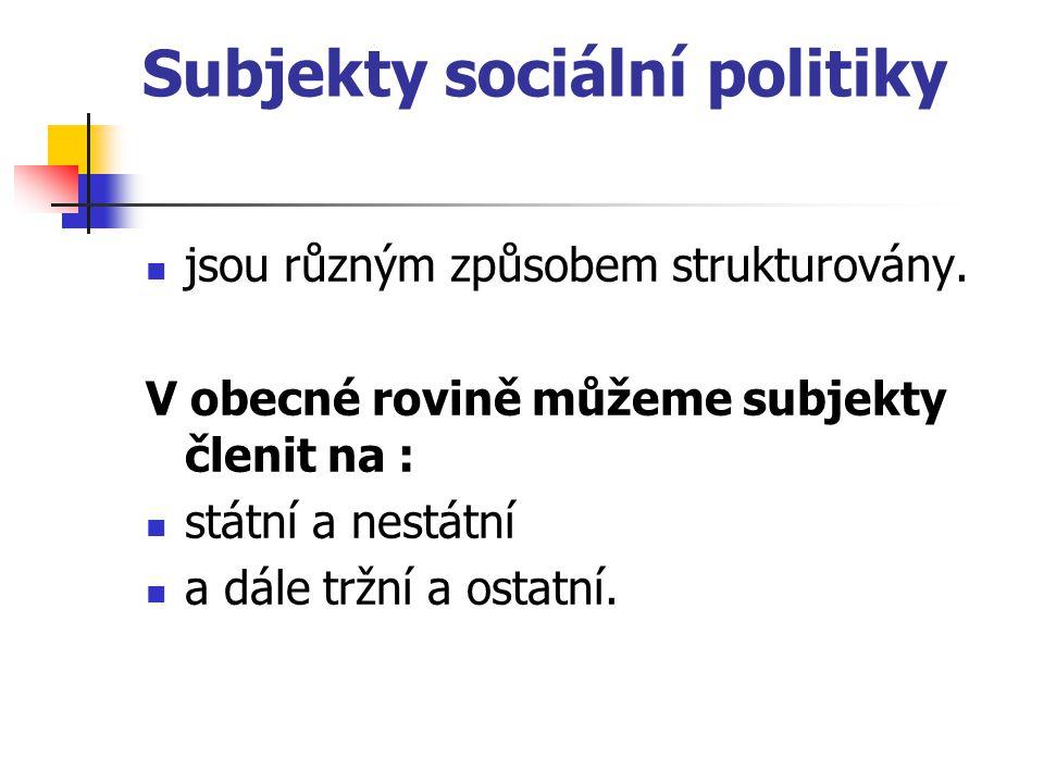 Subjekty sociální politiky jsou různým způsobem strukturovány. V obecné rovině můžeme subjekty členit na : státní a nestátní a dále tržní a ostatní.