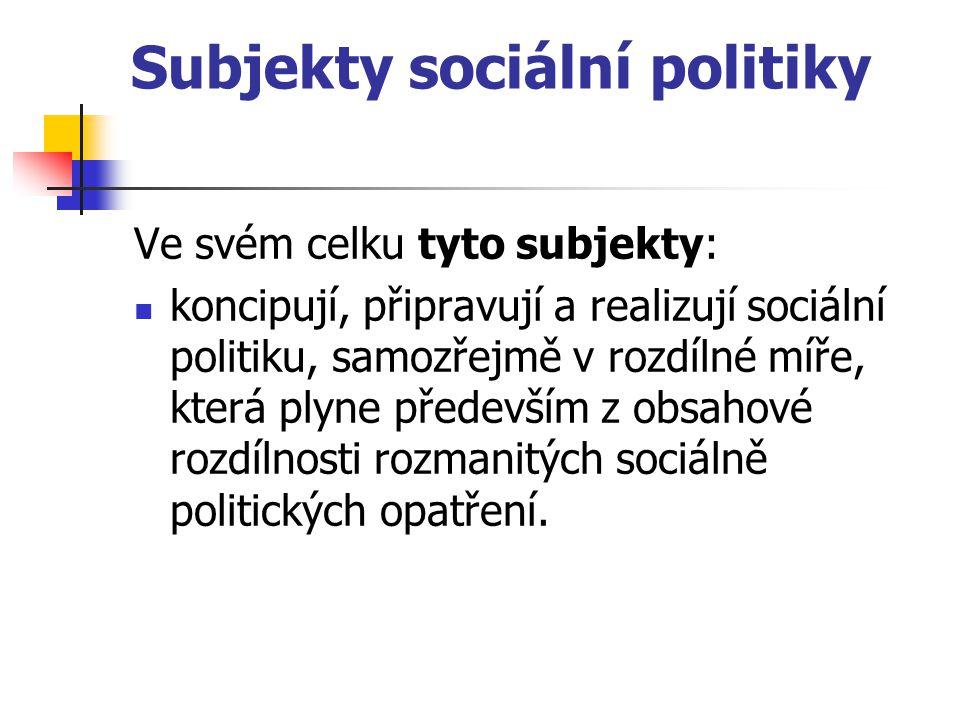 Subjekty sociální politiky Ve svém celku tyto subjekty: koncipují, připravují a realizují sociální politiku, samozřejmě v rozdílné míře, která plyne p