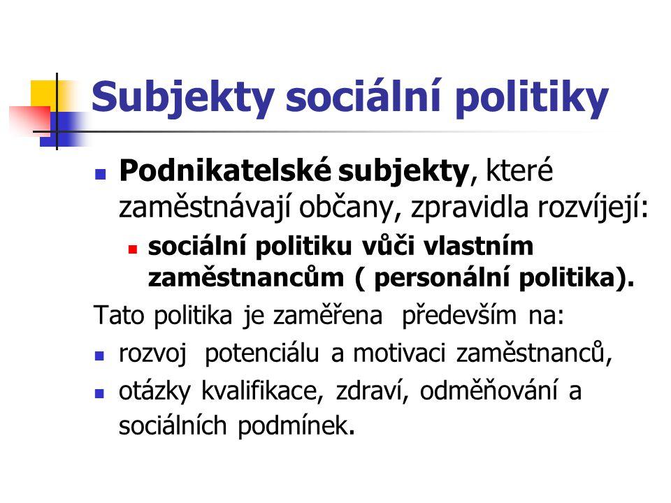Subjekty sociální politiky Podnikatelské subjekty, které zaměstnávají občany, zpravidla rozvíjejí: sociální politiku vůči vlastním zaměstnancům ( pers