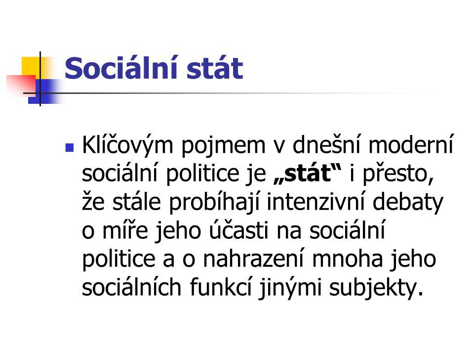 """Sociální stát Klíčovým pojmem v dnešní moderní sociální politice je """"stát"""" i přesto, že stále probíhají intenzivní debaty o míře jeho účasti na sociál"""