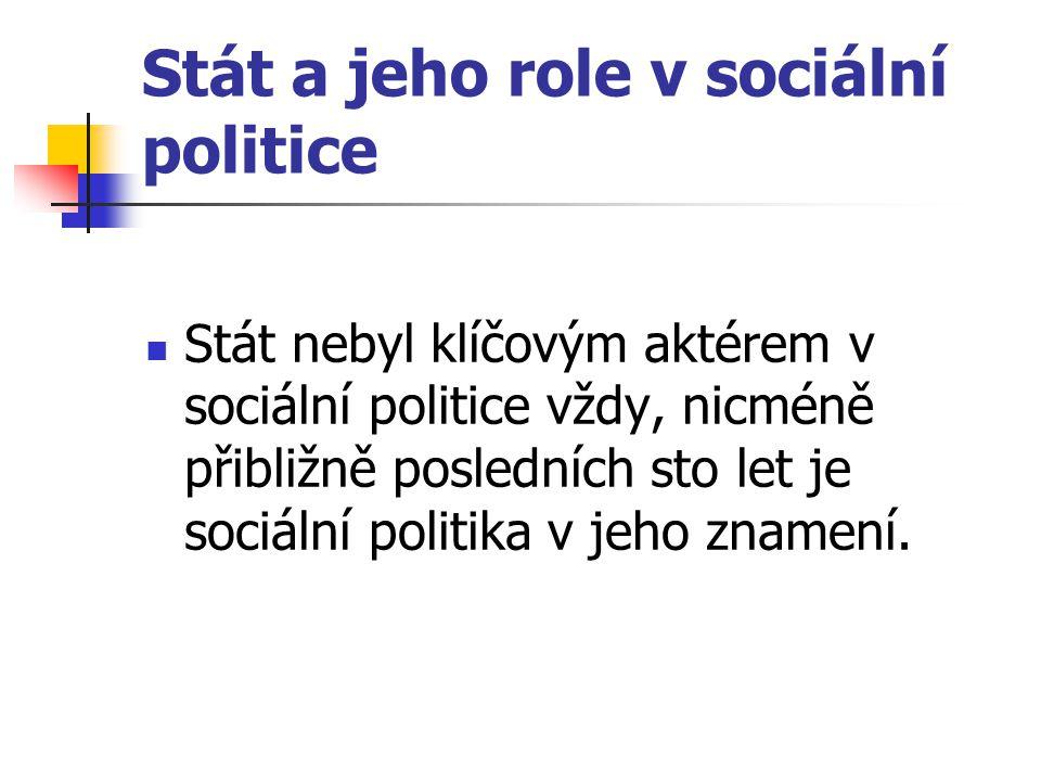 Stát a jeho role v sociální politice Stát nebyl klíčovým aktérem v sociální politice vždy, nicméně přibližně posledních sto let je sociální politika v