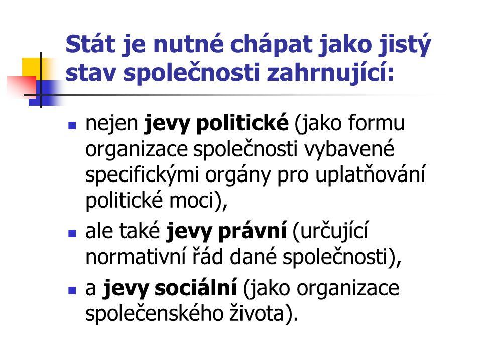 Stát je nutné chápat jako jistý stav společnosti zahrnující: nejen jevy politické (jako formu organizace společnosti vybavené specifickými orgány pro