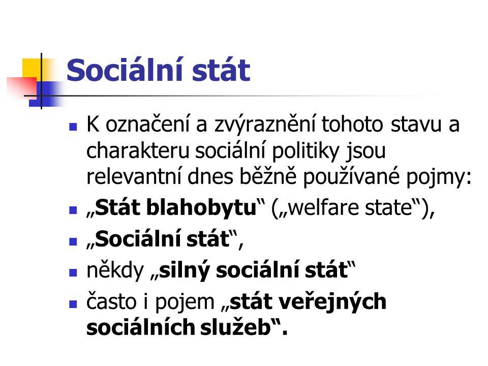 """Sociální stát K označení a zvýraznění tohoto stavu a charakteru sociální politiky jsou relevantní dnes běžně používané pojmy: """"Stát blahobytu"""" (""""welfa"""