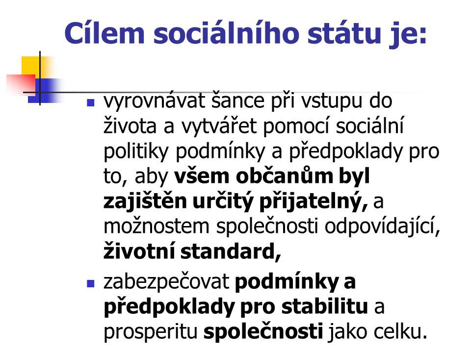 Cílem sociálního státu je: vyrovnávat šance při vstupu do života a vytvářet pomocí sociální politiky podmínky a předpoklady pro to, aby všem občanům b