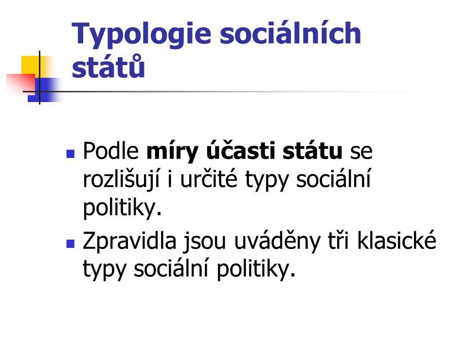 Typologie sociálních států Podle míry účasti státu se rozlišují i určité typy sociální politiky. Zpravidla jsou uváděny tři klasické typy sociální pol