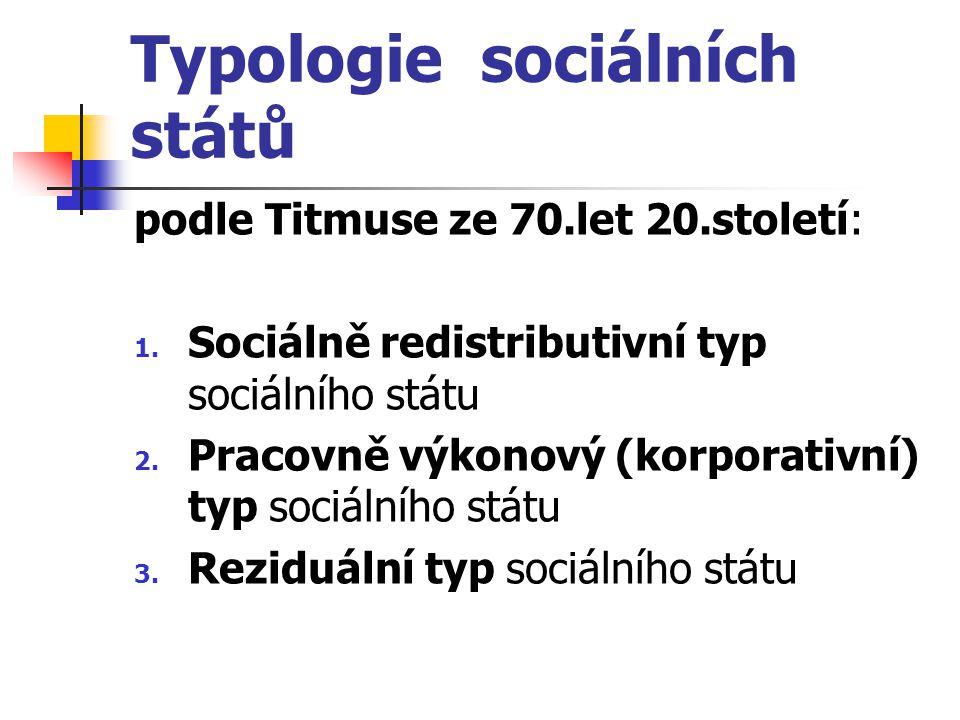 Typologie sociálních států podle Titmuse ze 70.let 20.století: 1. Sociálně redistributivní typ sociálního státu 2. Pracovně výkonový (korporativní) ty