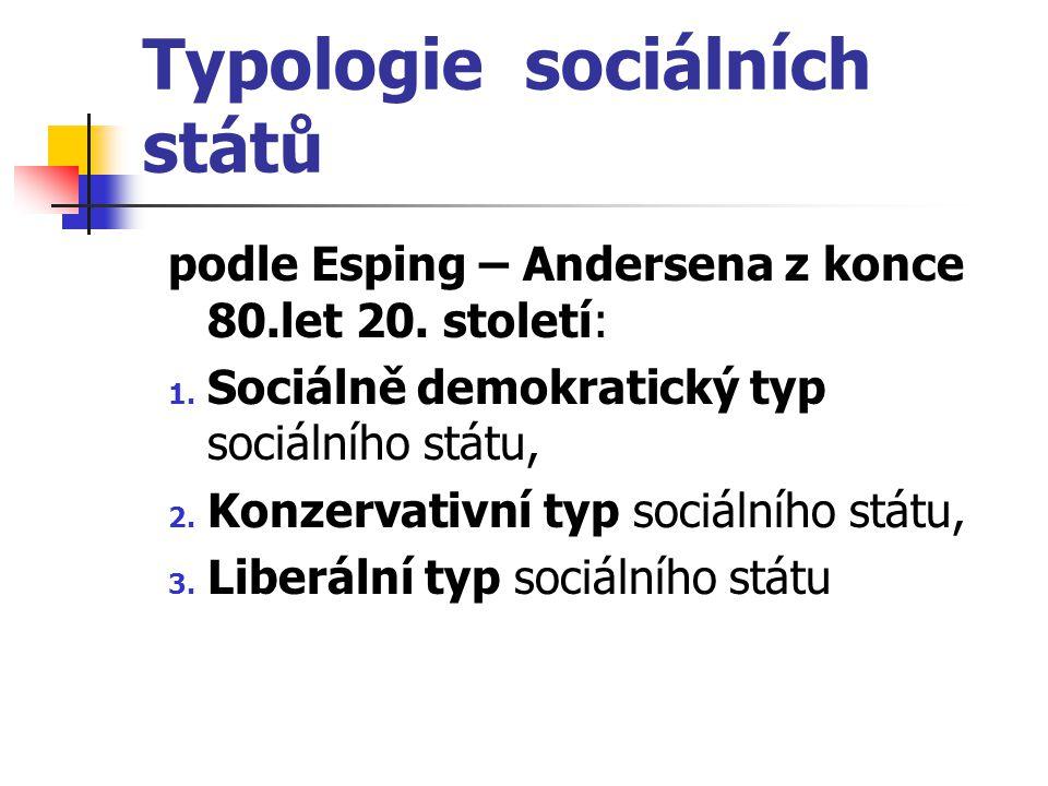Typologie sociálních států podle Esping – Andersena z konce 80.let 20. století: 1. Sociálně demokratický typ sociálního státu, 2. Konzervativní typ so