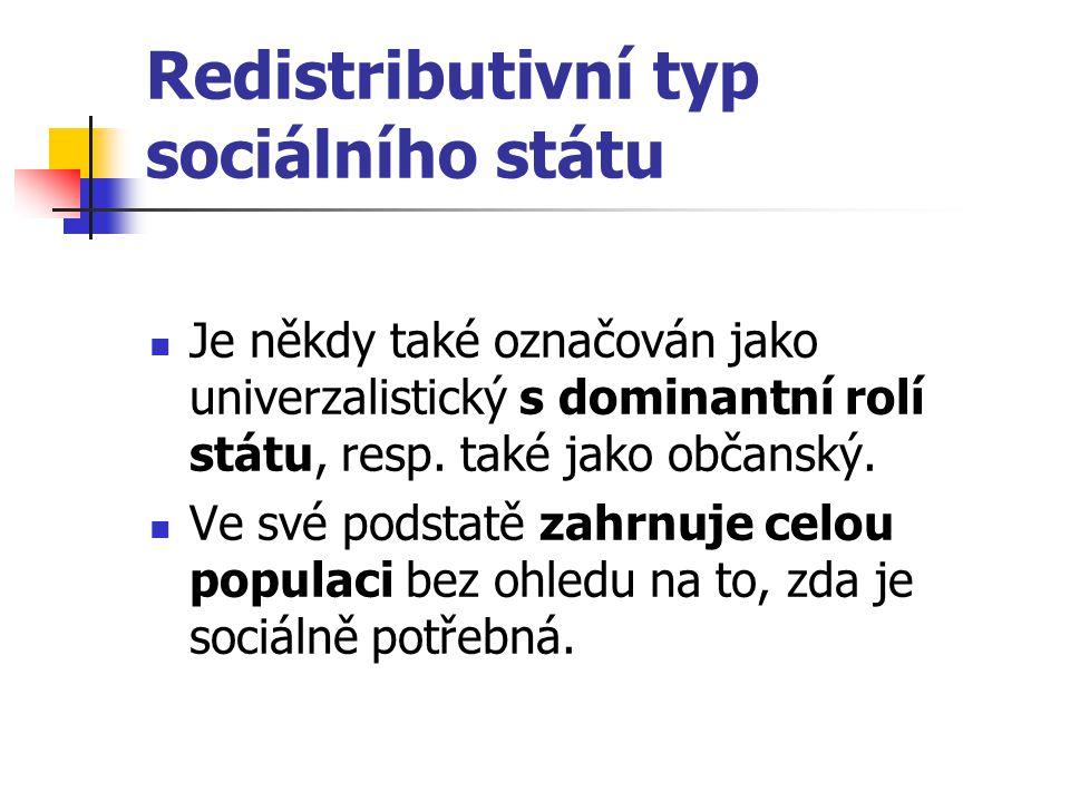 Redistributivní typ sociálního státu Je někdy také označován jako univerzalistický s dominantní rolí státu, resp. také jako občanský. Ve své podstatě