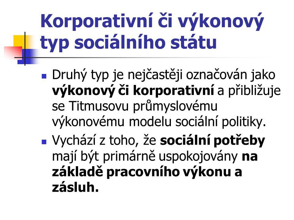 Korporativní či výkonový typ sociálního státu Druhý typ je nejčastěji označován jako výkonový či korporativní a přibližuje se Titmusovu průmyslovému v